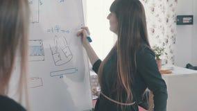 Het naaien en naaiende cursussen: een jonge vrouwenontwerper dichtbij een tikgrafiek stock video