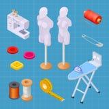 Het naaien fabrieks isometrische reeks, het naaien materiaal vectorinzameling vector illustratie