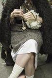 Het naaien met wol Royalty-vrije Stock Fotografie