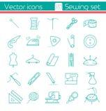Het naaien reeks, Lijnpictogrammen Stock Foto