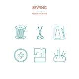Het naaien reeks pictogrammen Stock Afbeeldingen