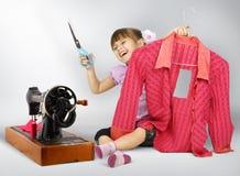 Het naaien van het meisje Royalty-vrije Stock Afbeelding