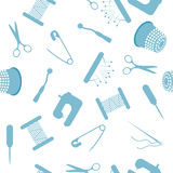 Het naaien van naadloos patroon in blauwe kleur Stock Afbeeldingen