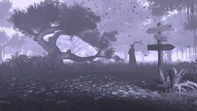 Het nachtbos met voorziet en onverbiddelijke zwart-wit maaimachine van wegwijzers Royalty-vrije Stock Foto's