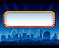 Het nachtleven van de stad met aanplakbord vector illustratie