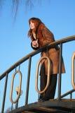 Het nadenkende meisje Stock Foto's