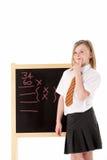 Het nadenkende Vrouwelijke Dragen van de Student Eenvormig naast Stock Fotografie