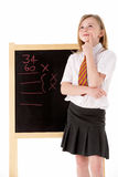 Het nadenkende Vrouwelijke Dragen van de Student Eenvormig naast Royalty-vrije Stock Foto