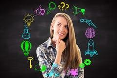 Het nadenkende vrouwen bedrijfs schetsen stock illustratie