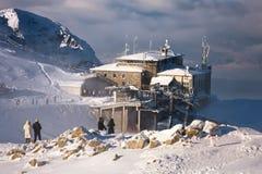 Het naderbij komen sneeuwstorm bij de hoogste post Royalty-vrije Stock Foto