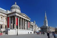 Het National Gallery in het Vierkant van Trafalgar van Londen Stock Afbeelding