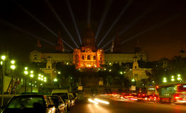 Het nationale museum van de Kunst bij maanlicht Stock Foto's