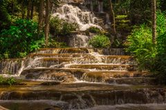 Het nationale park van de landschapswaterval namtok pacharogn, Tak Thailand Stock Afbeelding
