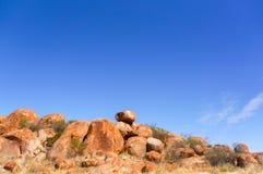 Het nationale park van duivelsmarbels, binnenland Australlia, noordelijk grondgebied stock fotografie