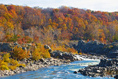 Het Nationale Park van Great Falls in de herfst, Virginia de V.S. Stock Fotografie
