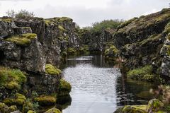Het Nationale Park van Thingvellirtingvallavatn in IJsland, Juni, jaar 2018 stock fotografie