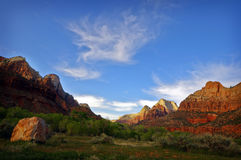Het Nationale Park van Zion bij Zonsondergang royalty-vrije stock fotografie