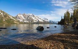 Het Nationale Park Verenigde Staten van Grand Teton van de sneeuw moountain mening royalty-vrije stock foto's