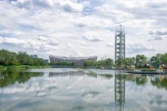 Het Nationale Stadion van Peking & LingLong-Toren Royalty-vrije Stock Foto