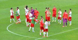 Het Nationale Team van Polen na het winnen van vriendschappelijke voetbalgelijke tegenover Litouwen Royalty-vrije Stock Foto's