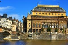 Het nationale Theater, Moldau, Praag, Tsjechische Republiek Stock Foto's