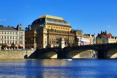 Het nationale Theater, Moldau, Praag, Tsjechische Republiek Royalty-vrije Stock Foto's