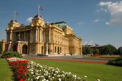 het nationale theater Zagreb van Kroatië Stock Afbeeldingen