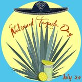 Het nationale van de de kaartaffiche van de tequiladag vectormalplaatje Stock Afbeelding