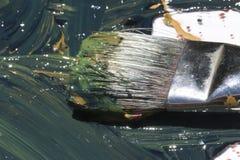 Het natte abstracte schilderen met borstel Royalty-vrije Stock Afbeeldingen