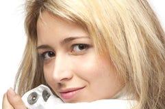Het natuurlijke gezicht van de vrouw, maakt omhoog, geïsoleerdee close-up, Royalty-vrije Stock Afbeeldingen