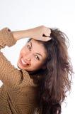 Het natuurlijke haar van de schoonheidsholding Stock Foto's