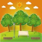 Het natuurlijke landschap in pop omhooggaand document sneed stijl Mooi park Milieuvriendelijk natuurlijk landschap royalty-vrije illustratie