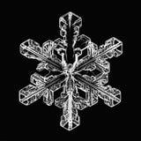 Het natuurlijke macrostuk van de kristalsneeuwvlok van ijs Stock Foto