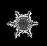 Het natuurlijke macrostuk van de kristalsneeuwvlok van ijs Royalty-vrije Stock Foto's