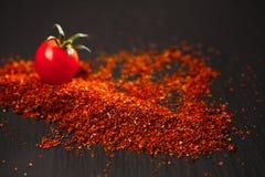 Het natuurlijke poeder van de grond in de zon gedroogde tomaat stock foto's