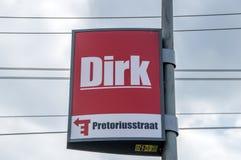 Het Nederland 2018 van aanplakborddirk van de broek supermarket at amsterdam stock afbeeldingen