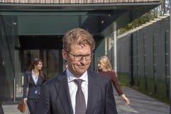 Het Nederland 2018 van ministersander dekker leaving at almere Het openen na zich het bewegen van Utrecht aan Almere-Stadsnederla stock fotografie