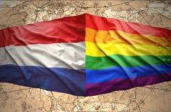 Het Nederlands en Regenboogvlaggen vector illustratie