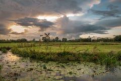 Het Nederlandse landschap van de polder met windmolen dichtbij de stad van Gouda, Nederland royalty-vrije stock afbeeldingen