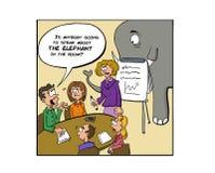 Het negeren van de olifant in de ruimte royalty-vrije illustratie