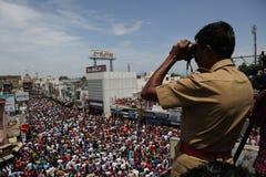 het nellaiappar festival van de tempelauto Stock Foto's