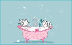 Het nemen van bad stock illustratie