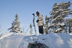 Het nemen van beelden van bossen op Linnekleppen. Stock Afbeelding
