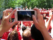 Het nemen van een Foto van Washington Capitals Victory Parade Stock Foto