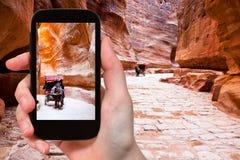 Het nemen van foto van vervoer in Siq-passage aan Petra stock foto