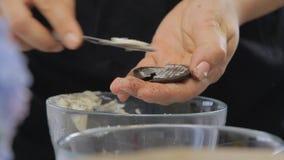 Het nemen van room in het midden van koekje terwijl het koken van de cake van de kaasroom met bosbessen stock video