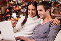 Het nemen van voordelen van Kerstmisverkoop Royalty-vrije Stock Foto's
