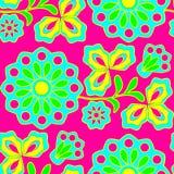 Het neon bloeit naadloze achtergrond Stock Foto