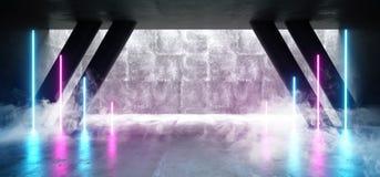 Het Neon de van Achtergrond FI van rooksc.i Purpere Blauwe Ultraviolette Gloeiende Concrete van Cyberpunk Weerspiegelende Textuur vector illustratie