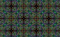 Het neon kleurt vierkantenpatroon over zwarte achtergrond Royalty-vrije Stock Fotografie